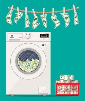 ドル紙幣でいっぱいの洗濯機。洗濯機でのマネーロンダリング。汚れた真実。隠された賃金、給与の黒字支払い、脱税、賄賂。腐敗防止。