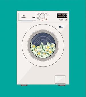 ドル紙幣でいっぱいの洗濯機。