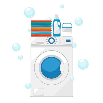 Washing machine illustration with bubbles
