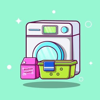 세탁기 세탁 세트 만화 아이콘 그림입니다. 기술 패션 아이콘 개념 절연입니다. 플랫 만화 스타일 프리미엄 벡터