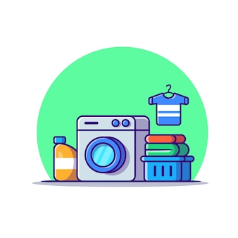 Washing machine laundry set cartoon icon illustration. technology fashion icon concept isolated . flat cartoon style