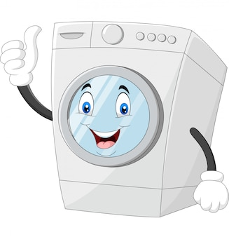 Washing machine mascot giving thumbs up