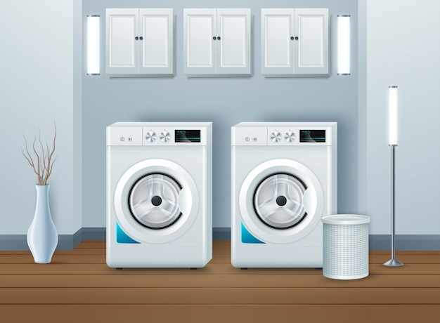 Washing machine in modern laundry room