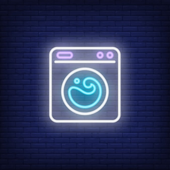 Washing machine neon sign