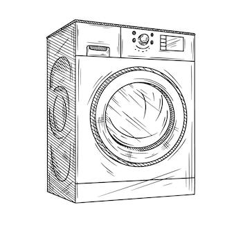 白い背景の上の洗濯機。スケッチスタイルのイラスト。