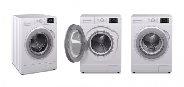 Washing machine realistic icon set three product of household appliances in different position