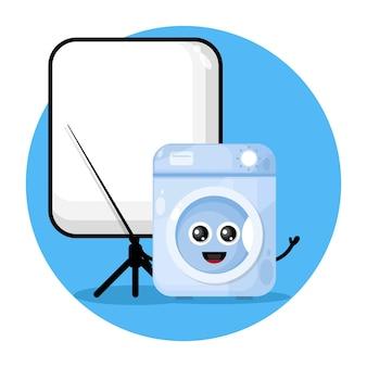 Стиральная машина учитель милый персонаж логотип