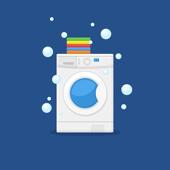 Washing machine and towels illustration