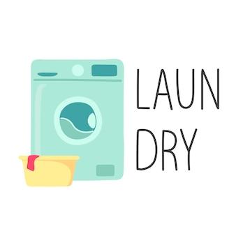 リネンレタリング洗濯漫画スタイルの洗面器付き洗濯機