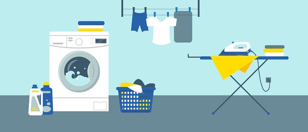 Washing machine with cleanser, iron on ironing board and clean clothes in laundry service room