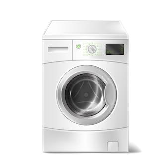 흰색 배경에 스마트 디스플레이 세탁기 프리미엄 벡터