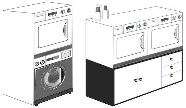 Washing machines with laundry machine isolated on white background