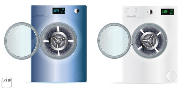 Washing machines with an open door detail on white background