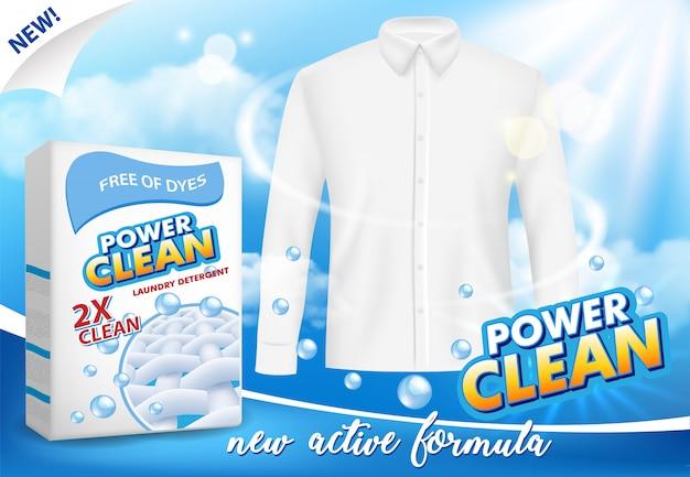 Washing powder advertising vector realistic illustration