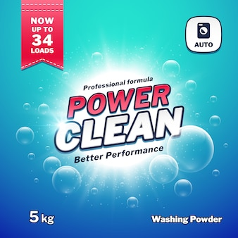 Washing powder, detergent packaging   template