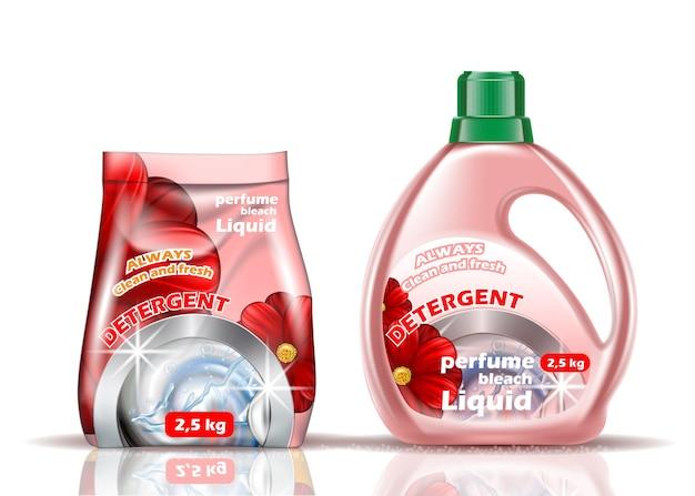 Стиральный порошок. жидкость и порошок розового цвета ароматизированы добавками