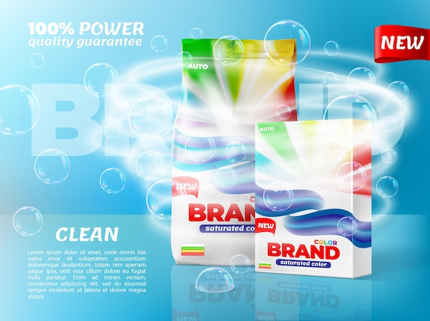 Washing powder packaging with soap bubbles and water whirl. washing detergent paper bop and plastic bag packs with brand color labels realistic vector mock-up, new household product promo banner