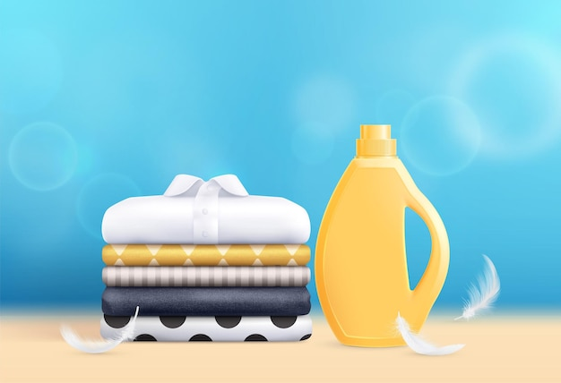 Washing realistic composition with detergent and clean mens shirts ironed and folded in stack
