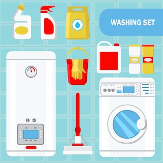 Washing set concept flat vector illustration.