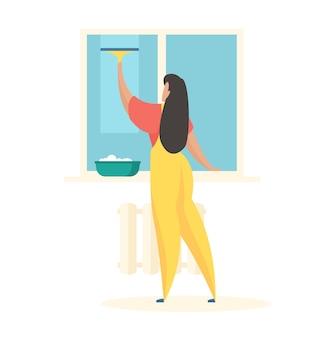 家の窓を洗う手にブラシで制服を着た女性キャラクターがガラスを拭く