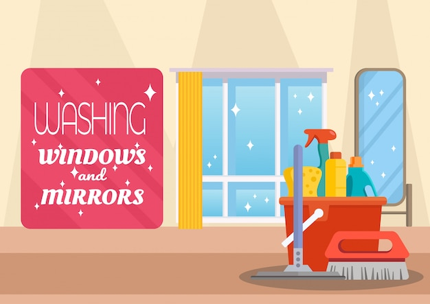 Washing windows and mirrors