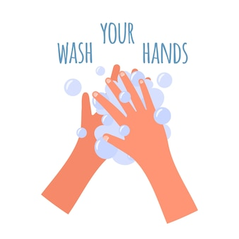 Washing your hands banner in flat style. self protect from coronavirus. washing hands with soap to prevent virus and bacteria, illustration..
