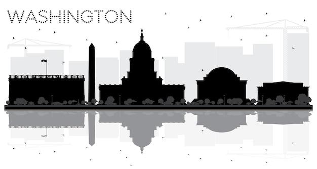 Город вашингтон, округ колумбия, горизонт черно-белый силуэт с отражениями. векторная иллюстрация. городской пейзаж с достопримечательностями