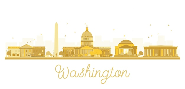 Washington dc city skyline golden silhouette. vector illustration. cityscape with landmarks