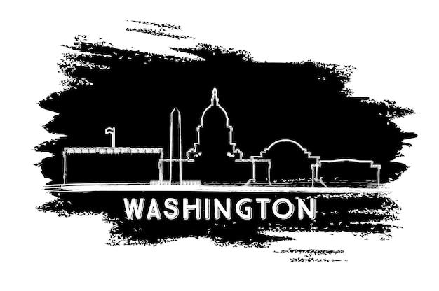 Силуэт горизонта города вашингтона, округ колумбия. рисованный эскиз. векторные иллюстрации. деловые поездки и концепция туризма с исторической архитектурой. городской пейзаж вашингтона, округ колумбия, с достопримечательностями.