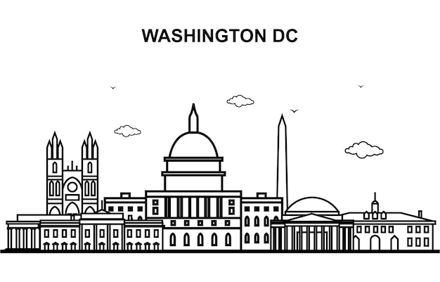 Washington dc city tour cityscape skyline line outline
