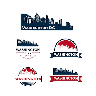 Washington dc logo cityscape and landmarks silhouette vector illustration