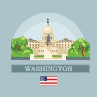 アメリカのイラストのワシントンdcのスカイライン