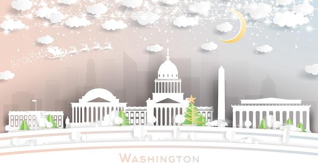 눈송이, 달, 네온 화환이 있는 종이 컷 스타일의 워싱턴 dc 미국 도시 스카이라인