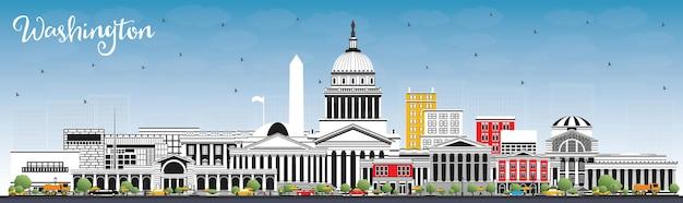 Вашингтон, округ колумбия, сша, город с серыми зданиями и голубым небом. векторные иллюстрации. деловые поездки и концепция туризма с историческими зданиями. городской пейзаж вашингтона, округ колумбия, с достопримечательностями.
