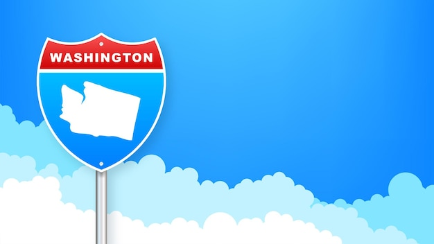 도 표지판에 워싱턴 지도입니다. 워싱턴 주에 오신 것을 환영합니다. 벡터 일러스트 레이 션.