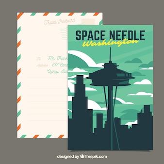 Washington postcard template with flat design