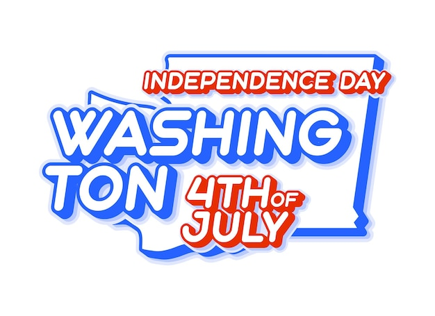 Washington state 4th of july independence day with map and usa national color 3d shape of us