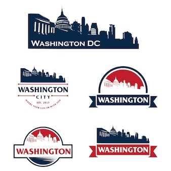 Washington usa skyline logo cityscape and landmarks silhouette