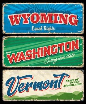 워싱턴, 버몬트 및 와이오밍 미국 주 빈티지 표지판 프리미엄 벡터