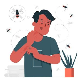 Иллюстрация концепции аллергии на осу Бесплатные векторы
