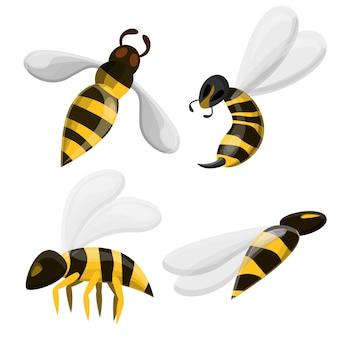 Wasp icons set, cartoon style