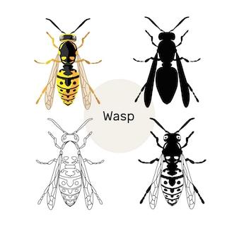 Набор изображений насекомых оса иллюстрация