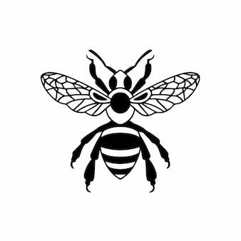 ハチのロゴシンボルステンシルデザインタトゥーベクトルイラスト
