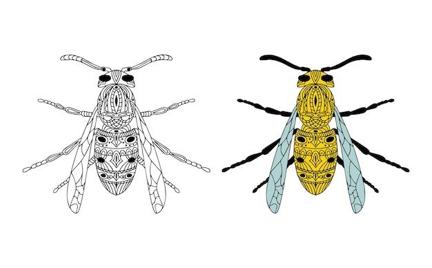 Wasp outline graphic element. stylized insect. vector illustration.