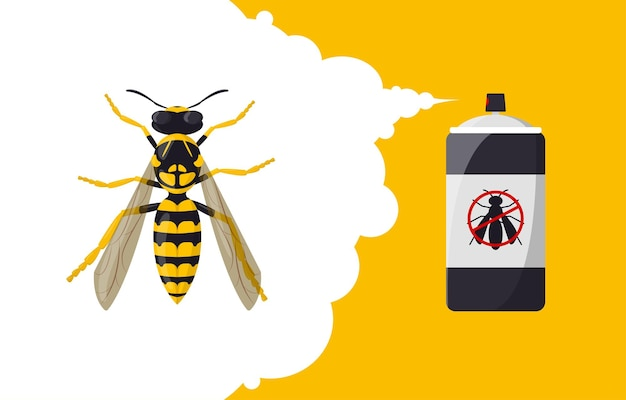 Wasp repellent aerosol insect repellent banner concept pest insect and bug control spray bottle