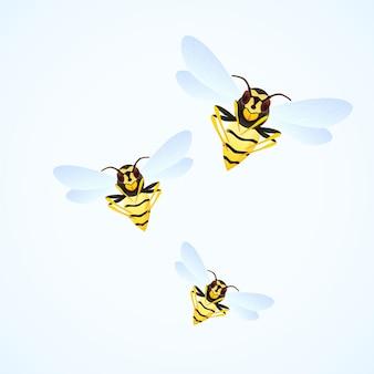 白い背景で隔離のハチの群れ漫画イラスト