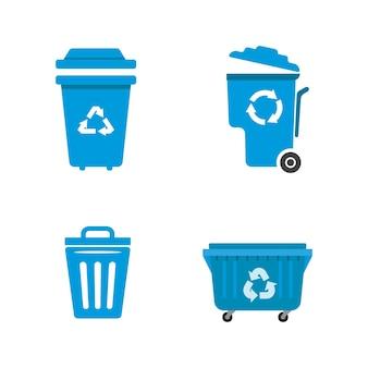 쓰레기 바구니 벡터 아이콘 디자인 일러스트 템플릿
