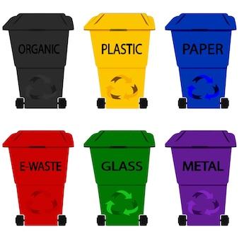 쓰레기통 플라스틱. 쓰레기 수거통. 재활용 통. 글리프 스타일의 다양한 유형의 쓰레기: 유기, 플라스틱, 금속, 종이, 유리, 전자 폐기물. 흰색 배경에 고립 된 다채로운 휴지통