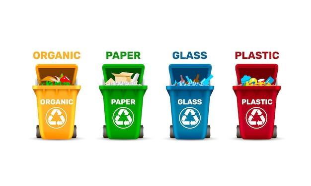 쓰레기통, 쓰레기 분류, 유기 플라스틱 유리 및 종이
