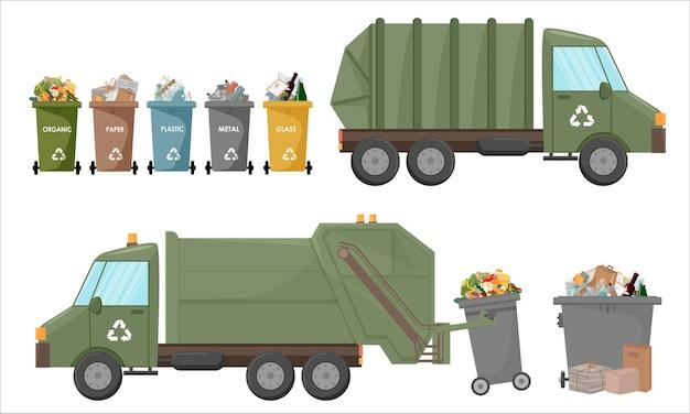 폐기물 수집 및 운송 차량 쓰레기 제거 쓰레기 컨테이너 상자 및 가방 플랫 스타일 일러스트레이션에서 폐기물 그림을 정렬하기위한 다양한 컨테이너